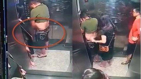 Phẫn nộ hình ảnh gã đàn ông tiểu bậy trong thang máy chung cư