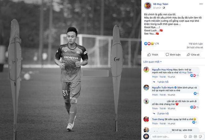 Võ Huy Toàn không được dự vòng loại World Cup 2022 vì chấn thương