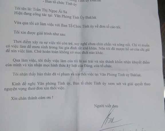 Chị gái cho nữ trưởng phòng tỉnh uỷ Đắk Lắk mượn tên, mượn bằng đã xin nghỉ phép đi chữa bệnh 2
