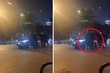 Clip: Bị bắt gặp chở bồ trên ô tô, chồng rồ ga kéo lê vợ trên đường