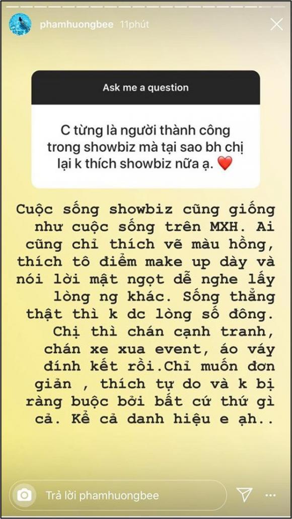 Phạm Hương thẳng thắn chia sẻ, trong showbiz ai cũng thích màu hồng, không thích lời thật lòng.