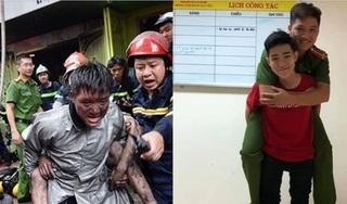 Xúc động hình ảnh chàng trai trẻ cõng lại chiến sĩ đã cứu mình khỏi đám cháy