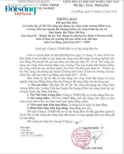 Doanh nghiệp 'quen' chuyên 'thâu tóm' đầu tư xây dựng tỉnh Cao Bằng01