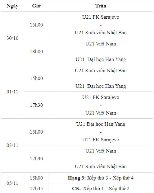 Lịch thi đấu U21 Quốc tế 2019