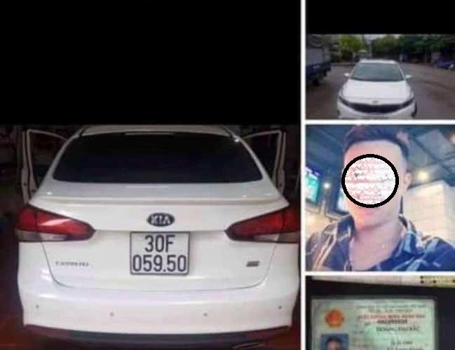 Ôtô của kẻ cầm kiếm chém nát kính xe tải nghi là xe mất trộm