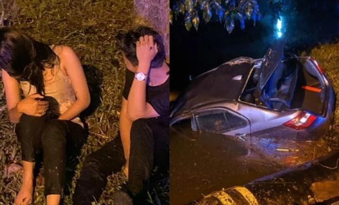 Lao đầu ô tô xuống mương khi bị cảnh sát bắt quả tang làm chuyện ấy trên xe