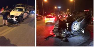 Hai ô tô nát bét, một xe lật ngửa sau cú tông liên hoàn trên cầu Vĩnh Tuy