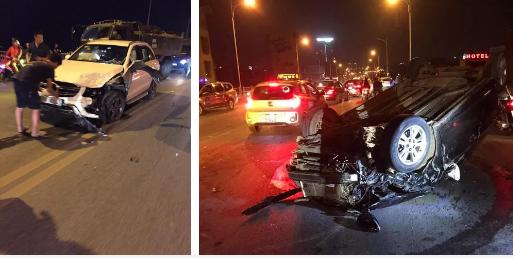 Hai ô tô nát bét, 1 xe lật ngửa sau cú tông liên hoàn trên cầu Vĩnh Tuy