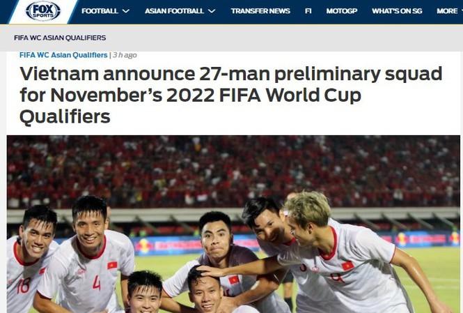 Fox Sports Asia: 'Đội tuyển Việt Nam có lợi thế trước UAE và Thái Lan