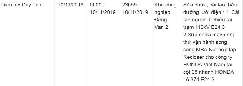 Lịch cắt điện ở Hà Nam từ ngày 7/11 đến 10/1124