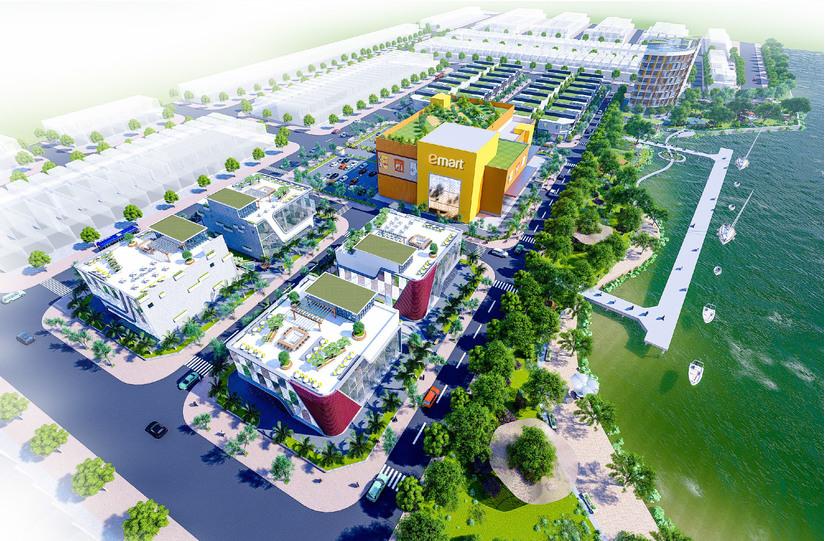 Phối cảnh tổng thể dự án Bạc Liêu Riverside Commercial Zone