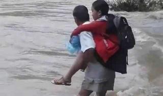 Cha cõng con vượt dòng nước xiết đến trường và ước mơ cháy bỏng về một cây cầu