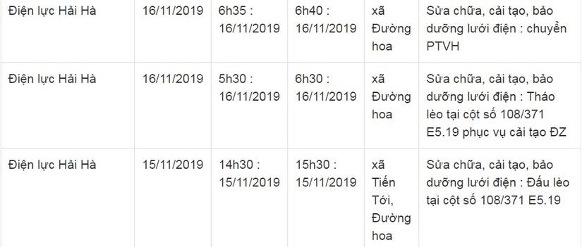 Lịch cắt điện ở Quảng Ninh từ ngày 15 và 16/104