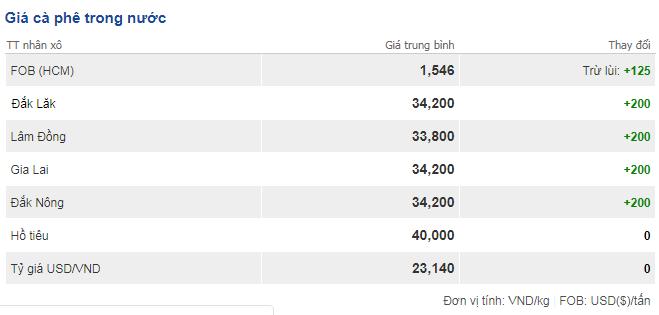 Giá cà phê hôm nay 15/11: Tiếp tục tăng thêm 200 đồng/kg