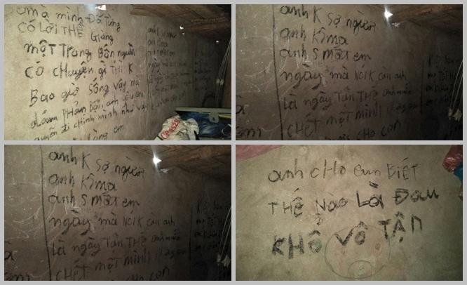 Ám ảnh những dòng chữ người chồng để lại trên tường trước khi chết cùng 2 con