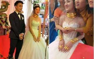 Choáng với cô dâu Cao Bằng đeo vàng 'dát từ đầu đến chân' trong ngày cưới