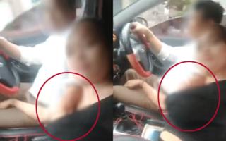 'Nóng mắt' với cặp trung niên vừa lái xe vừa hành động phản cảm rồi vui vẻ quay clip