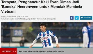 Báo indonesia hằn học gọi Đoàn Văn Hậu là con rối của Heerenveen