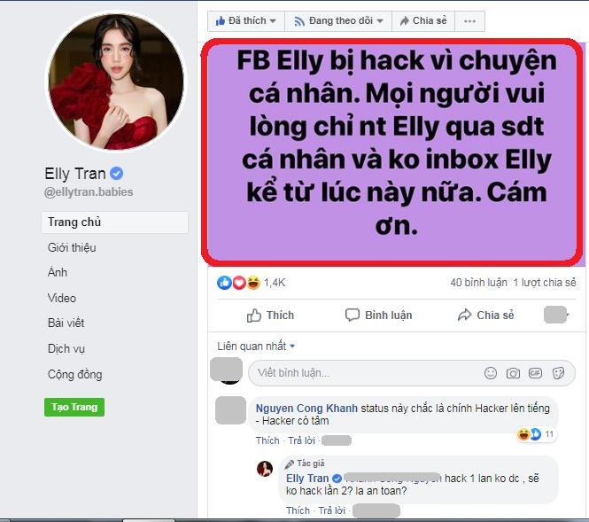Elly Trần bị hack facebook giữa thời điểm rộ nghi vấn bị chồng Tây ngoại tình