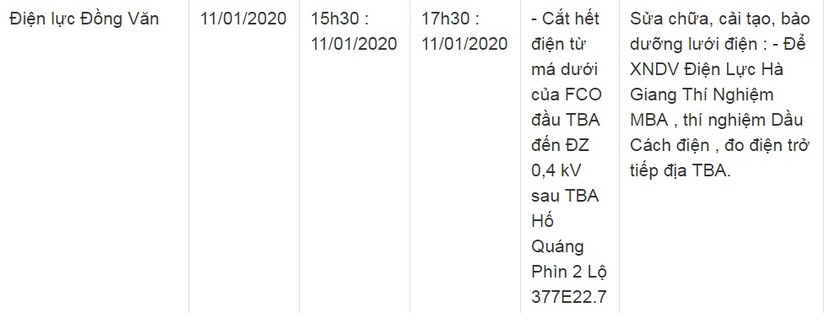 Thông báo lịch cắt điện ở Lạng Sơn ngày 10/1 và 11/117