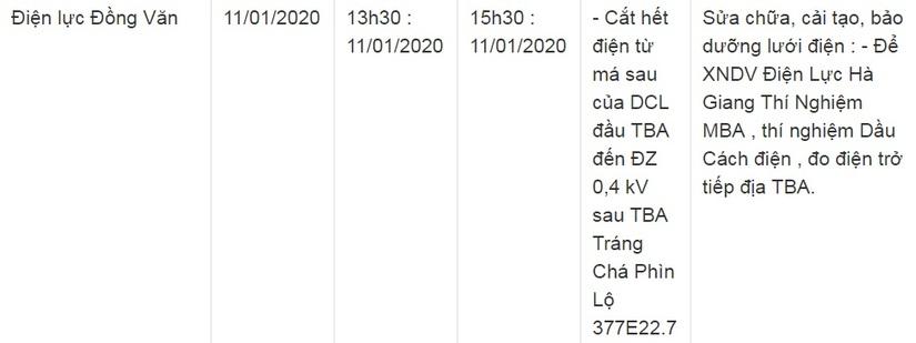 Thông báo lịch cắt điện ở Lạng Sơn ngày 10/1 và 11/120