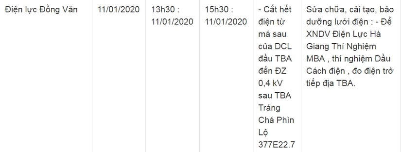 Thông báo lịch cắt điện ở Lạng Sơn ngày 10/1 và 11/121