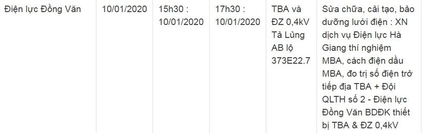 Thông báo lịch cắt điện ở Lạng Sơn ngày 10/1 và 11/111
