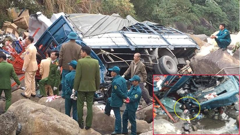 Va chạm với xe máy, ô tô tải lao xuống vực 3 người tử vong