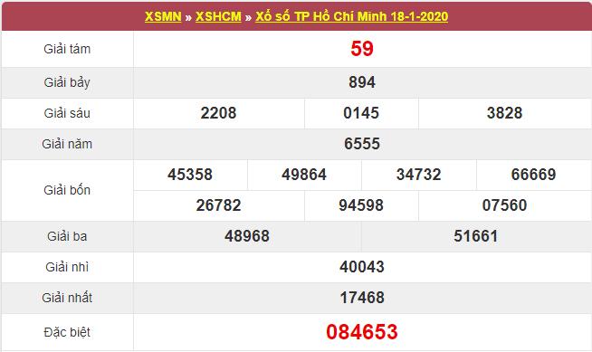 kết quả xổ số Hồ Chí Minh thứ 7 ngày 18/1/2020: