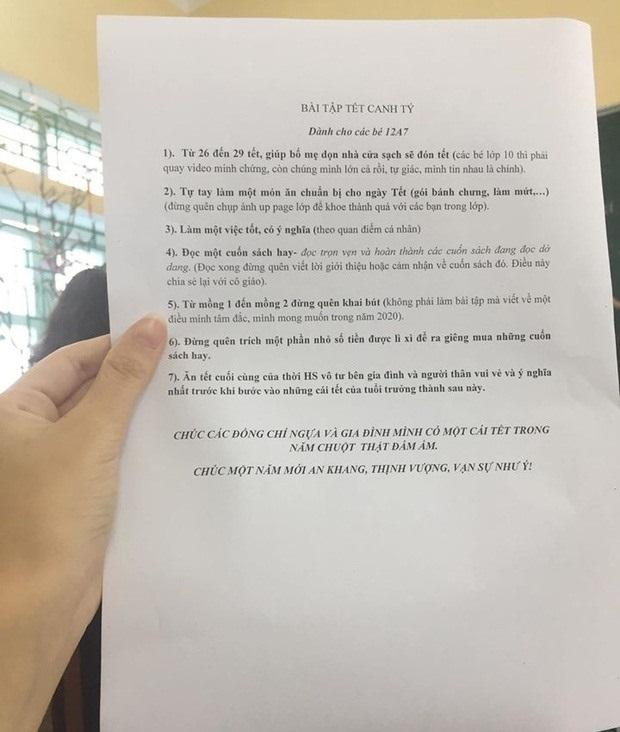 Cô giáo Nam Định giao 7 bài tập về nhà dịp Tết khiến học sinh reo hò2