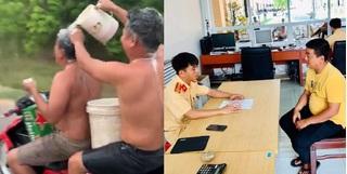 Vừa tắm gội vừa chạy xe máy, hai thanh niên bị phạt tiền