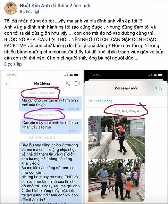 Nhật Kim Anh trình bằng chứng ba mẹ chồng cư xử tệ bạc không cho gặp con