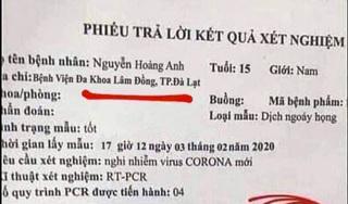 Nam sinh lớp 11 làm giả phiếu xét nghiệm nhiễm virus corona bị công an triệu tập
