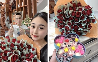 Anh chồng xứ Nghệ chất chơi, tặng vợ bó hoa 'polymer 500k' hot nhất mùa Valentine