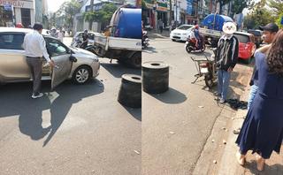 Hành động bất ngờ của cặp vợ chồng đi ô tô khi bị xe máy đâm móp đầu