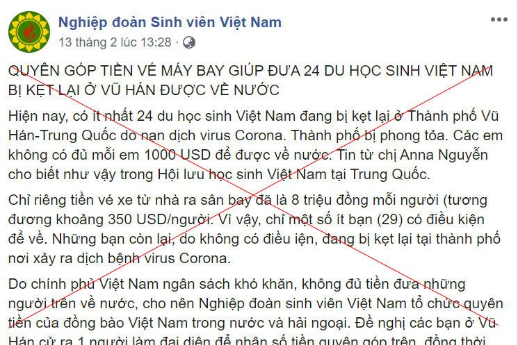 Thông tin kêu gọi quyên góp đưa 24 du học sinh Việt ở Vũ Hán về nước