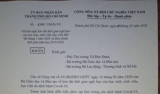 TP HCM kiến nghị cho học sinh nghỉ hết tháng 3 chống dịch Covid-19