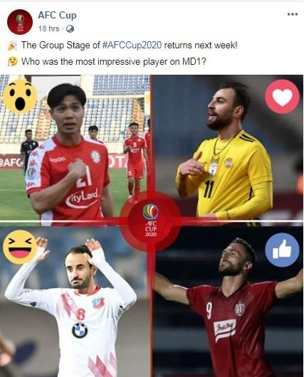 Công Phượng được AFC vinh danh trước lượt trận hai AFC Cup 2020