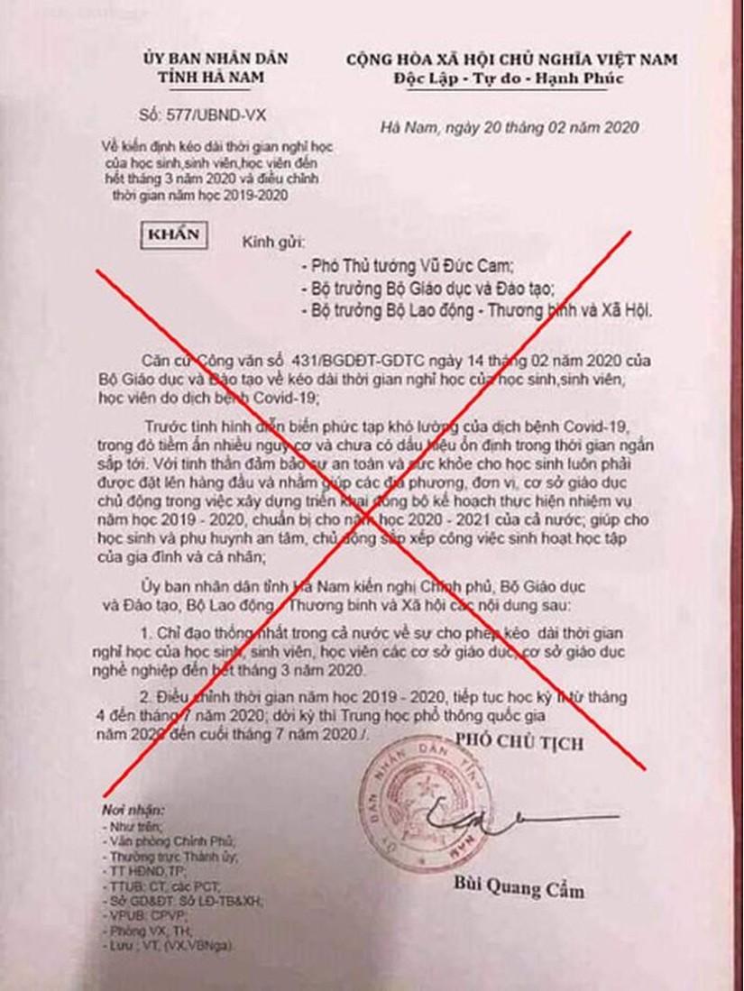 Đăng văn bản giả mạo cho học sinh nghỉ học, người phụ nữ Hà Nam bị phạt 5 triệu đồng