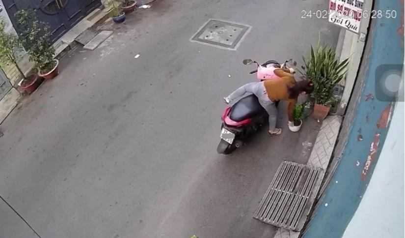 Clip: Dù ngã xe sấp mặt, cô gái vẫn ngoan cố quay lại trộm cây cảnh3