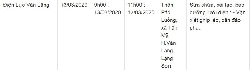 Lịch cắt điện ở Lạng Sơn từ ngày 13/3 đến 15/39