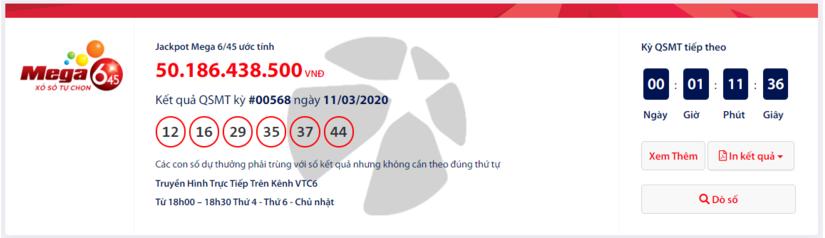 Kết quả xổ số Vietlott Mega 6/45 hôm nay thứ 4 ngày 11/3/2020: