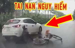 'Ninja' đi ngược chiều khiến người đi xe đạp bị ô tô tông văng