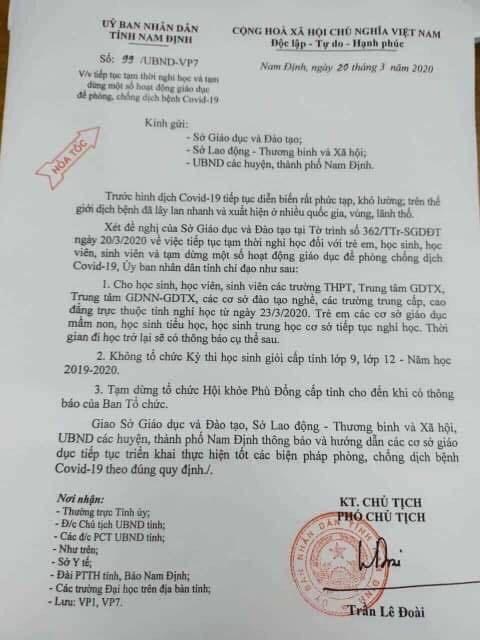 Nam Định thông báo hỏa tốc về lịch nghỉ học của học sinh2