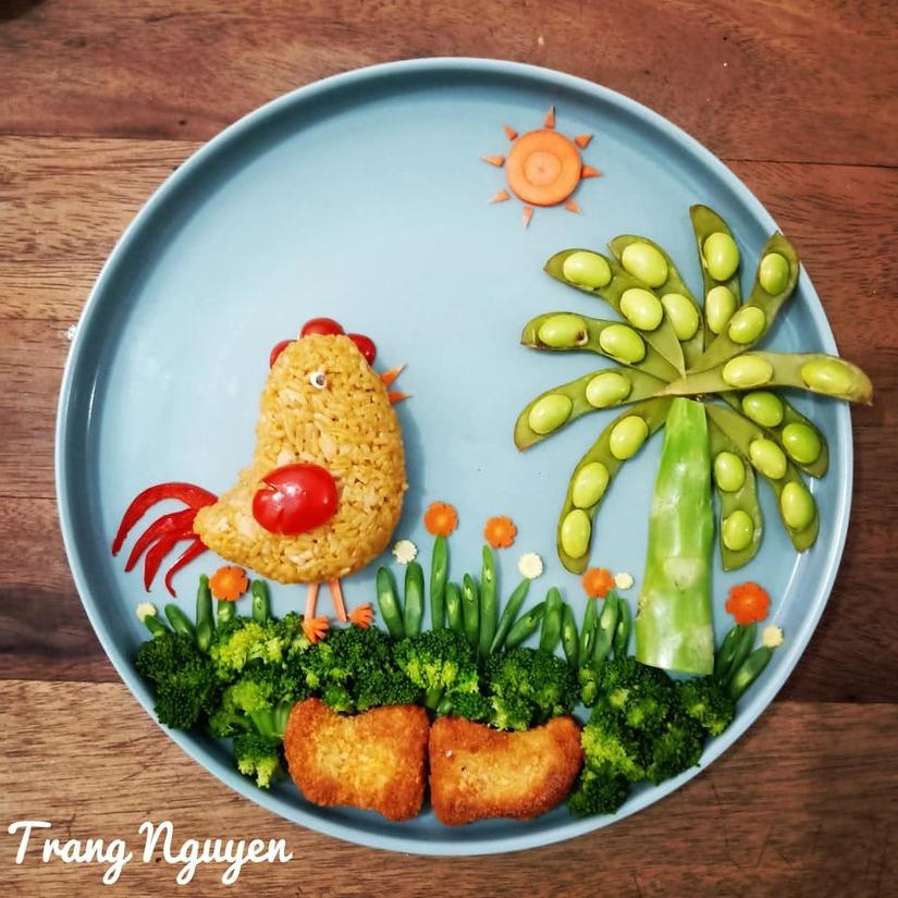 Mẹ Việt ở Indonesia trang trí đĩa thức ăn đẹp giúp con mê tít4