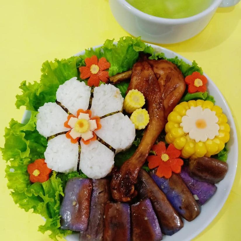 Mẹ Việt ở Indonesia trang trí đĩa thức ăn đẹp giúp con mê tít17