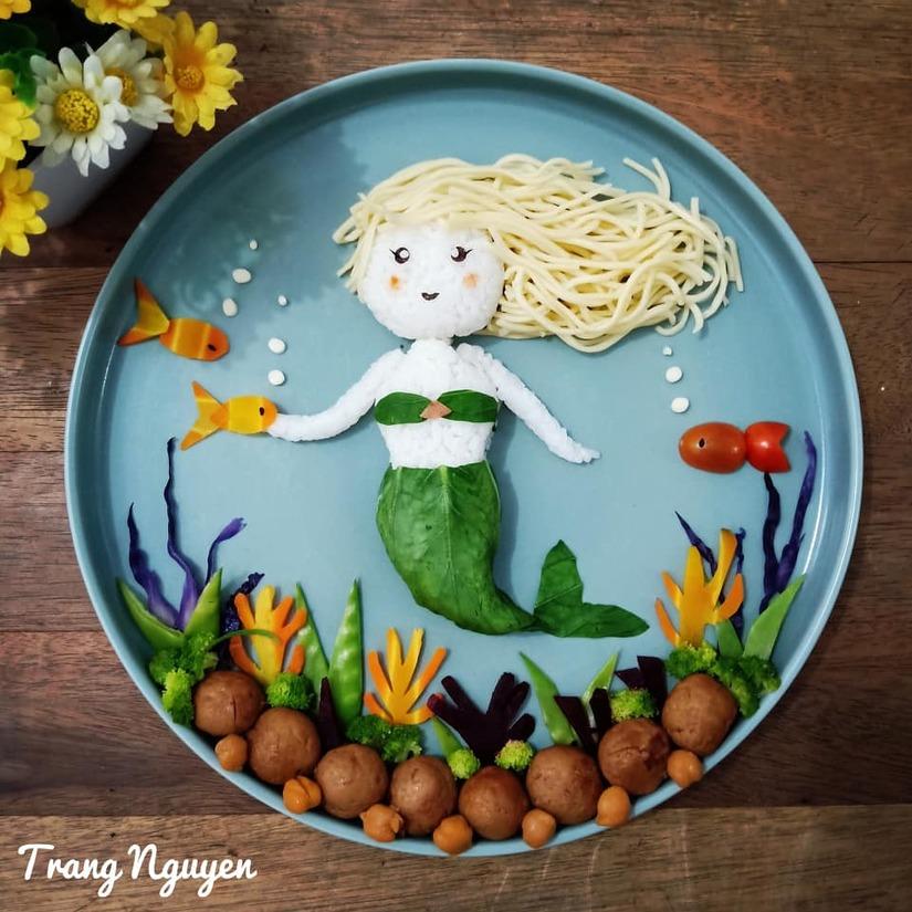 Mẹ Việt ở Indonesia trang trí đĩa thức ăn đẹp giúp con mê tít3