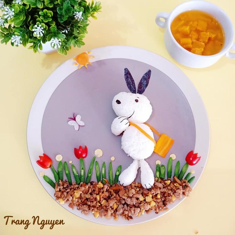 Mẹ Việt ở Indonesia trang trí đĩa thức ăn đẹp giúp con mê tít2
