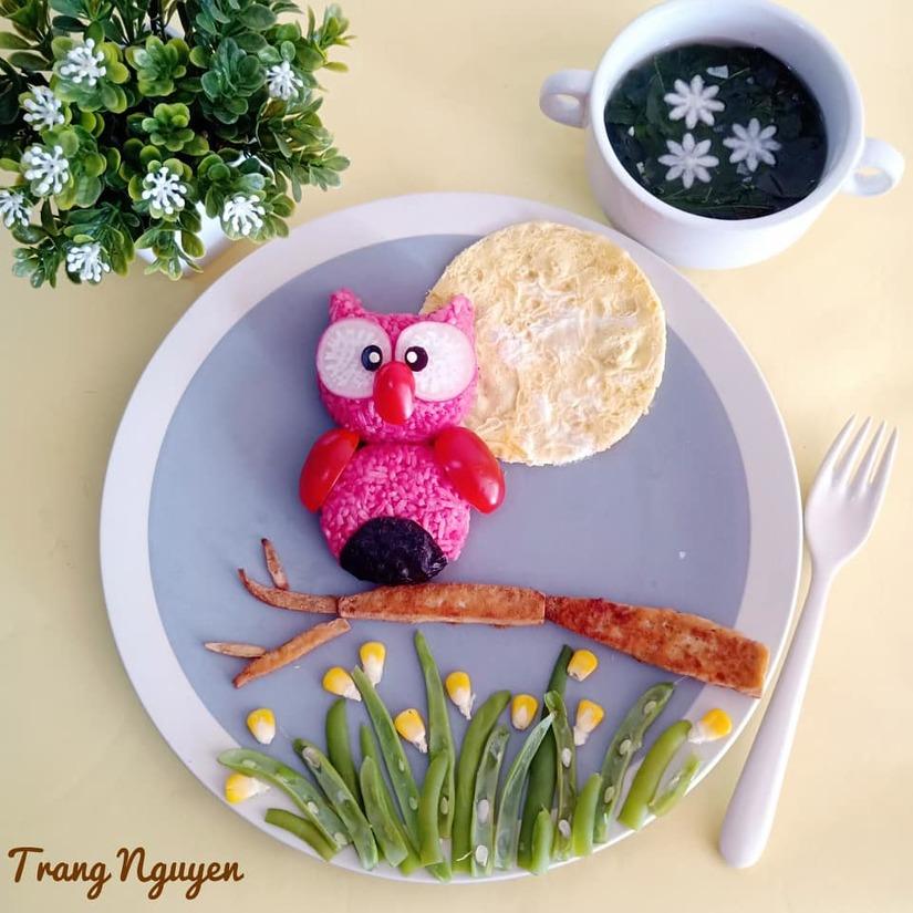 Mẹ Việt ở Indonesia trang trí đĩa thức ăn đẹp giúp con mê tít7