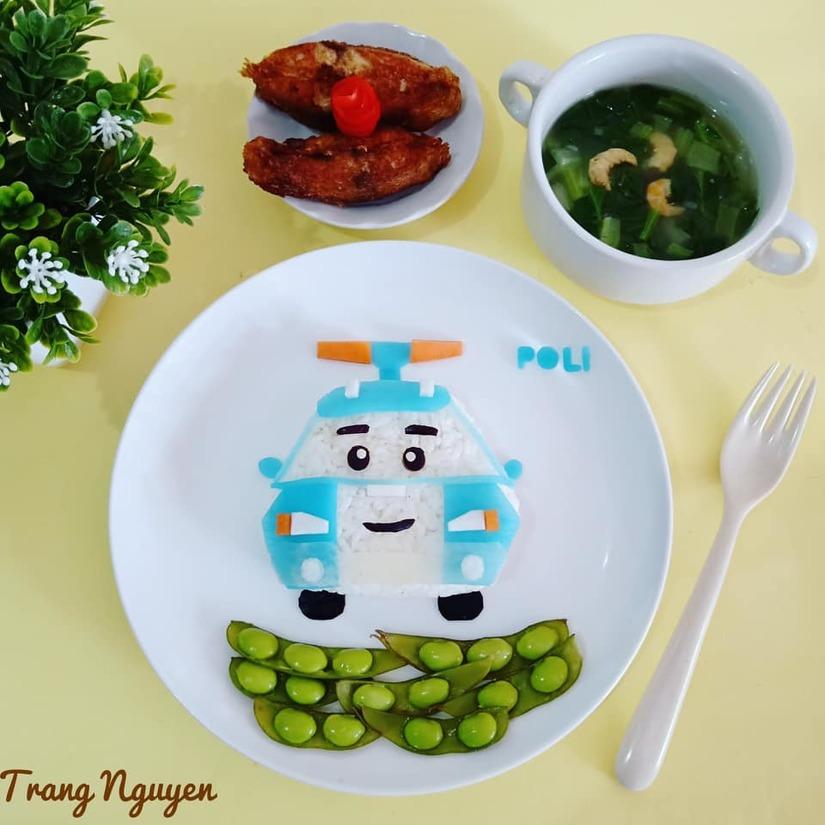 Mẹ Việt ở Indonesia trang trí đĩa thức ăn đẹp giúp con mê tít8